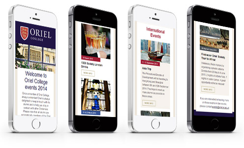 Oriel College responsive email design